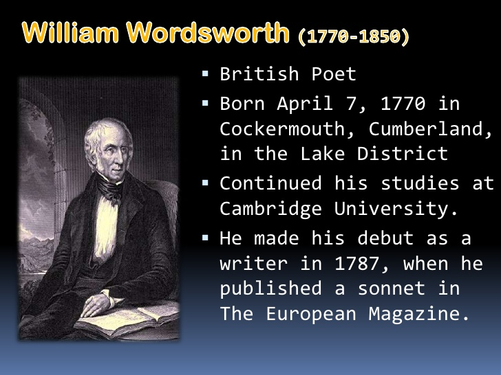 an analysis of the poem of william wordsworth The poem i wandered lonely as a cloud by william wordsworth, written in 1802 and first published in 1807, celebrates the beauty of nature to such an extent that for the poet it is not only a beauty but 'bliss of solitude' too.